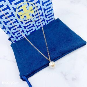 Tory Burch Simple Logo Pearl Necklace